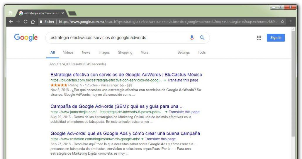 BluCactus Herramientas de SEO. Muestra una pagina de SERP