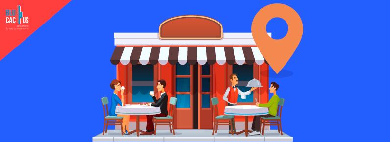 BluCactus clientes afuera de un restaurante disfrutando su comida