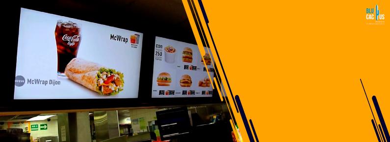 BluCactus Menu digital en la pared de un restaurante