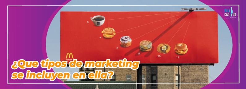 BluCactus Que tipo de marketing se incluyen en ella