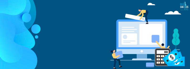 BluCactus - Monitos con fondo azul construyendo una pagina web