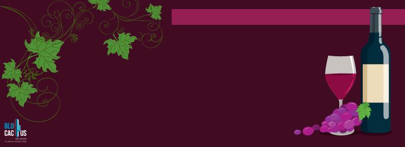 BluCactus Botella de vino tinto con etiqueta y uvas